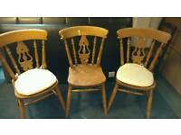 Chairs x 3 solid wood