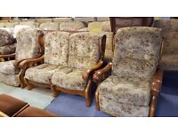 Oak-Framed 2-Seater Sofa and 2 Reclining Armchairs in Great Condition