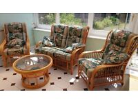 Conservatory Cane Furniture Suite with matching Glass Table