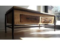 Stylish 2-tone wood and metal TV stand / TV table