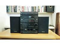 Vintage Technics SA-X900L integrated amp, radio, cassette + CD, turntable and speakers