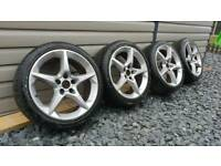 "GENUINE VAUXHALL ASTRA SRI PENTA 18"" ALLOY WHEELS TYRES"