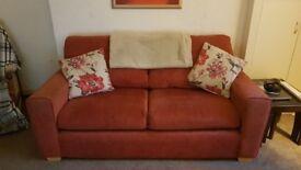 2 seater fabric sofa - burnt orange/red - £50 ONO