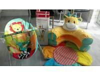Baby bouncer blow up giraffe ring and door bouncer all from mothercare
