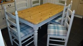 Country pine table with 6 matching chairs