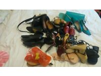 ASSORTED LADIES SHOES AND BLACK BOOTS