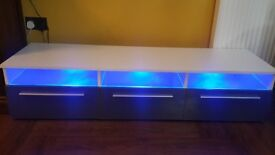 Grey and white high gloss TV unit