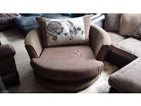 NEW Graded Brown Fabric Swivel Chair FREE LOCAL DELIVERY