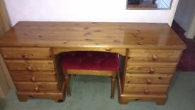 Dressing table, antique pine with matching stool. Also matching mirror and bedside table.