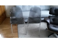 2 John Lewis Swirl Gel Chairs Smoke Grey