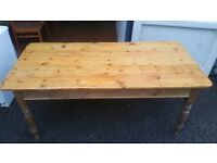 Antique solid wood table with one drawer