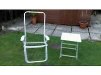 Multi position chair frame only and side table