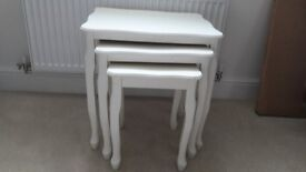 Shabby Chic Nest of 3 tables cream wood