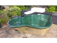 Pond, fiberglass, about 7 ft by 5 ft in good condition.