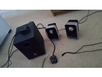 Logitech Silver/Black speakers with Subwoofer!