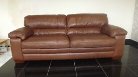 Designer Brown leather 3 seater sofa + 2 chairs (119) £999
