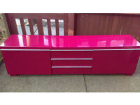 Designer GLOSS RED TV Entertainment Cabinet - Approx 8 feet long - NORTH LONDON - Delivery Available