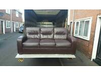 3 seater sofa in brown leather like new