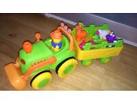 Bruin Farm Tractor and Trailer Set with melody Toys Animals