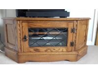 Solid Medium Oak Corner TV Unit