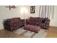 Ex-display DFS Floral red and grey fabric 3 seater sofa, 2 seater sofa bed and footstool