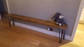 Handmade Rustic Solid Wood Industrial Bench