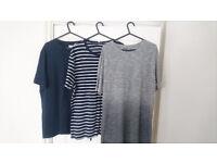 3x Reiss T-Shirt - Mens UK Size Large - Navy & Striped & Grey