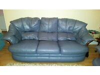 3 Piece Suite. Leather blue/grey. 3 seater, armchair and spinning recliner chair.
