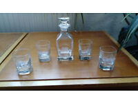 Royal Welsh Lead Crystal, Small Decanter set with Welsh emblem