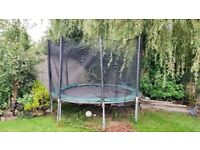 10 ft kids trampoline, new net and foam surround - just £30