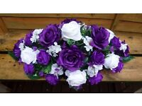 Purple and ivory silk flower piece, wedding top table, registrars table, roses and hydrangeas