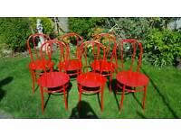 Red garden metal chair