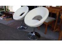 Pair Of Modern White Kitchen Chairs