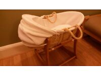 Moses basket with all bedding and wooden rocking stand