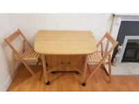 GATELEG DINING TABLE AND CHAIRS..SPACESAVER ONLY £20 R