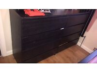Ikea Black Bed Frame, 2x chester drawers and 2x bedside cabinets.