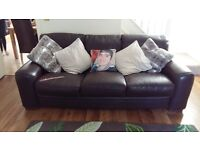 Brown Leather 2 & 3 Seater Sofa`s.