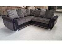 ** HELIX CHENILLE FABRIC AND LEATHER CORNER SOFAS / MATCHING SWIVEL CHAIRS, FOOTSTOOLS *
