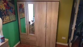 BRAND NEW 4 Door 2 Drawer Mirrored Wardrobe in Oak Effect Veneer for SALE