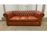 Stunning vintage 3 seater leather chesterfield sofa £450