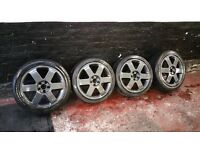 "SET OF 17"" AUDI TT STAGGERED ALLOY WHEELS & TYRES 5X100 WILL FIT CORRADO VR6 GOLF MK4 A4 A3 5 X 100"