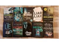Selection of books (thriller, crime, mystery, fiction)