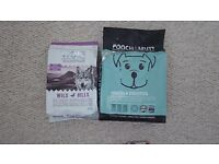 2 bags of luxury dog food Pooch & Mutt & Wolf of Wilderness Dog Food Grain Free & High Meat Content