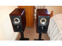 Mission 751 bookshelf speakers in rosewood with stands