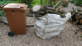 Large one tonne builders type sack of hardwood logs for fire or wood burning stove