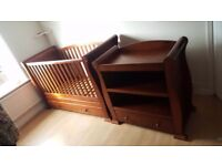 Sliegh cot bed and changing unit