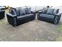BUY ZONDA BLACK/GREY 3 SEATER £399 PLUS 2 SEATER FREE !!! BRAND NEW HAND MADE SOFA AMAZING QUALITY