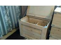 Rustic wood blanket box