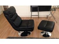 black leather chair /footstool
