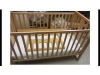 Beech Mothercare Cot Bed inc mattress